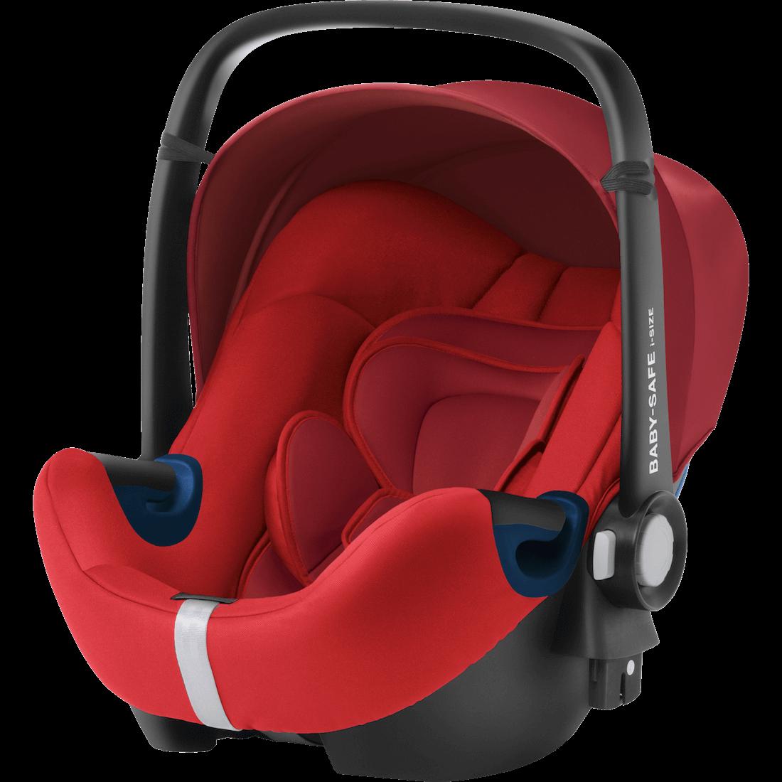 rote Babyschale i-Size gegurtet mit Flugzulassung