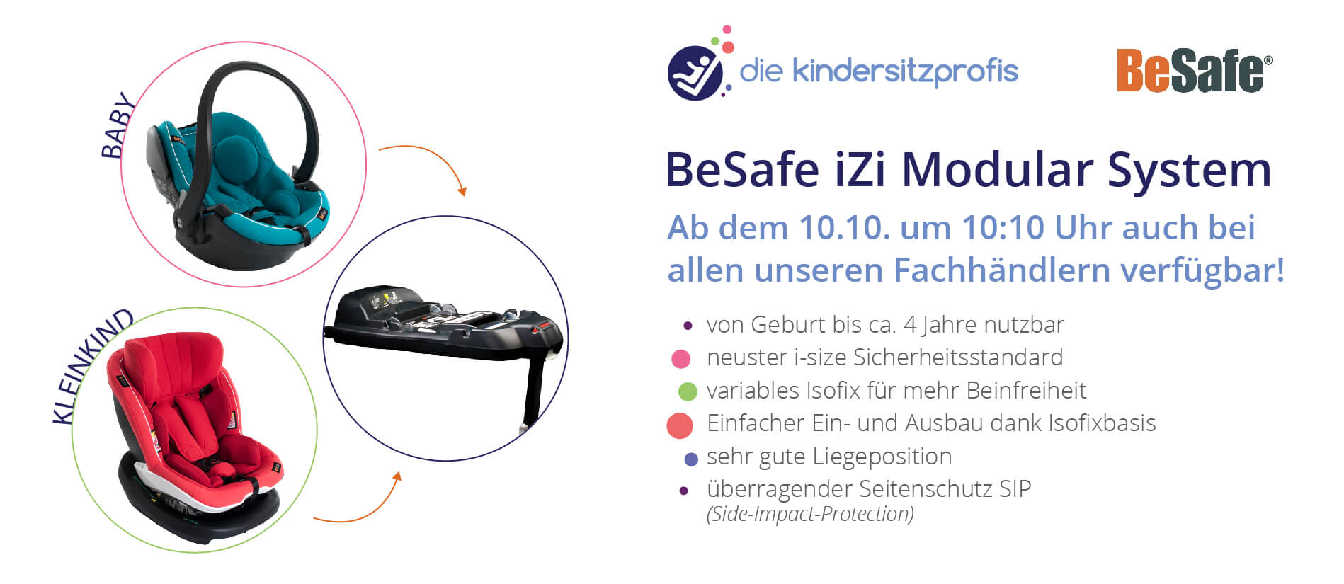 Ab 10.10. bei den Kindersitzprofis: Das BeSafe iZi Modular System